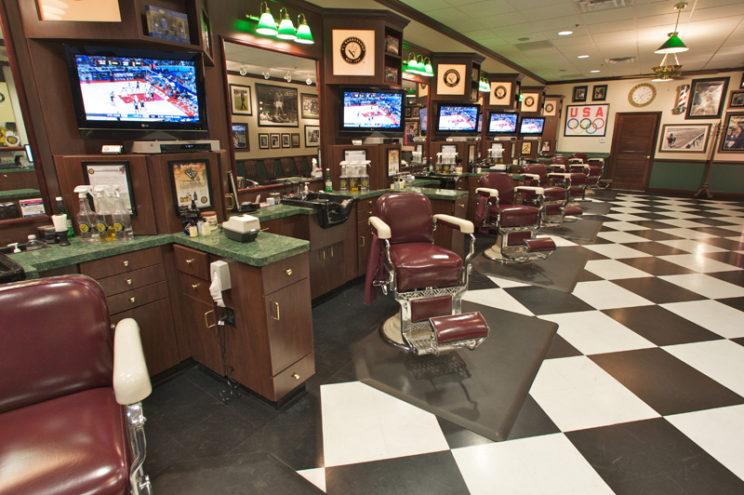 барбершоп зал парикмахерская мужская внутри стиль